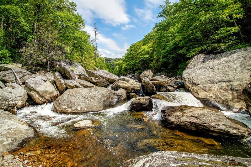 Каскады реки Linville стоковые фотографии rf