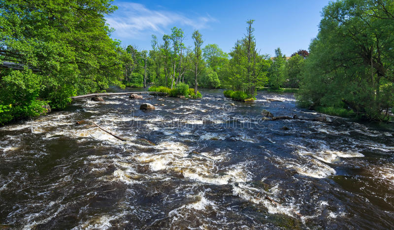 Каскады реки Morrum стоковые фотографии rf