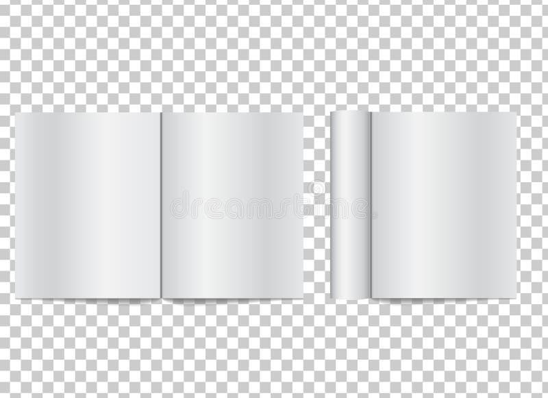 Кассета реалистического пробела открытая с свернутыми страницами белой бумаги на t бесплатная иллюстрация