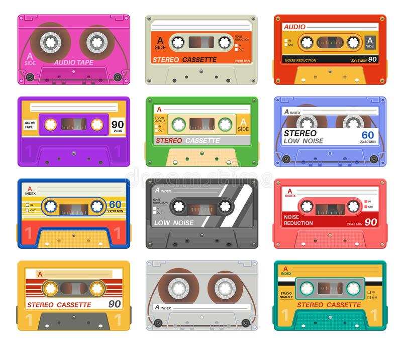 Кассеты Магнитофонная кассета ленты музыки другого цвета ретро Прибор средств массовой информации рекордной технологии старой шко иллюстрация вектора