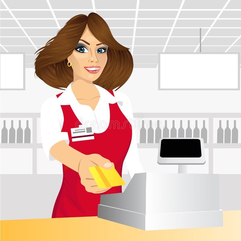 Кассир давая кредитную карточку в супермаркете иллюстрация штока