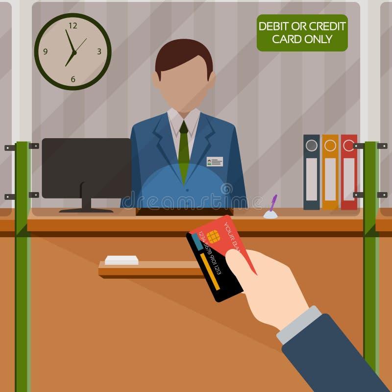 Кассир банка за окном Рука с карточкой Депозируя деньги в счете в банк Оплата кредита или кредитной карточки шильдика только иллюстрация штока