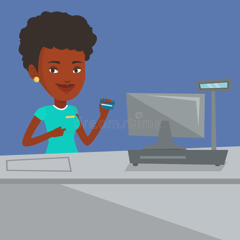 Кассир держа кредитную карточку на проверке бесплатная иллюстрация