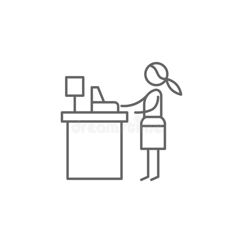 Кассир, женщина, значок ресторана Элемент значка ресторана E иллюстрация штока