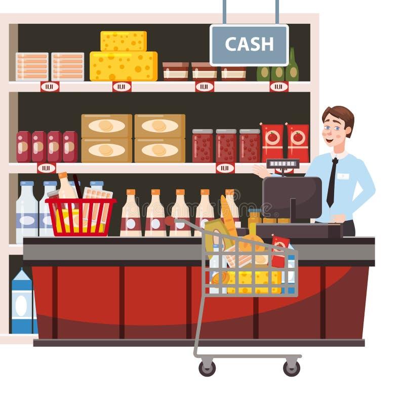 Кассир за счетчиком кассира во внутреннем супермаркете, магазин, магазин, продукты питания полок, товары Тележка бакалеи бесплатная иллюстрация