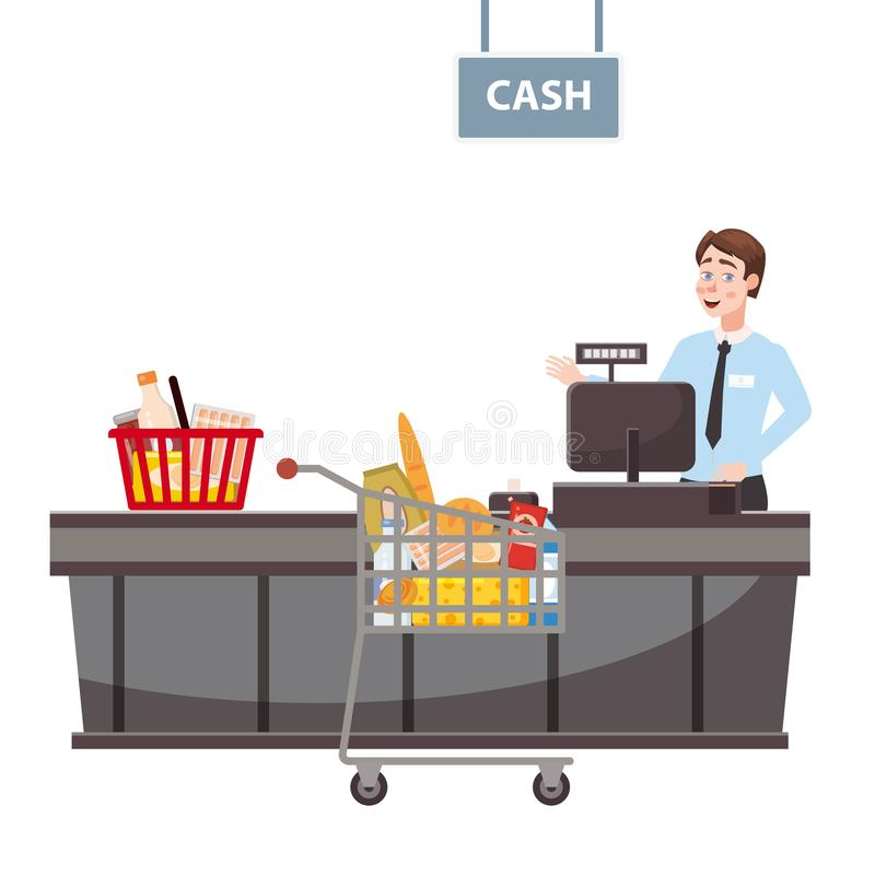 Кассир за счетчиком кассира в супермаркете, магазине, магазине с корзи иллюстрация штока