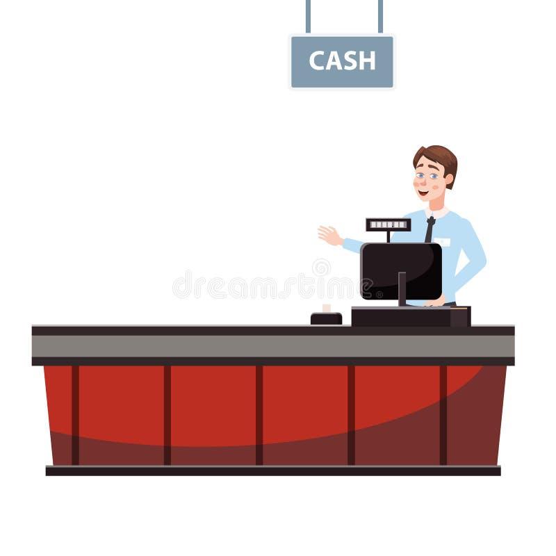 Кассир за счетчиком кассира в супермаркете, магазин, магазин Вектор, иллюстрация, изолированный стиль мультфильма, бесплатная иллюстрация