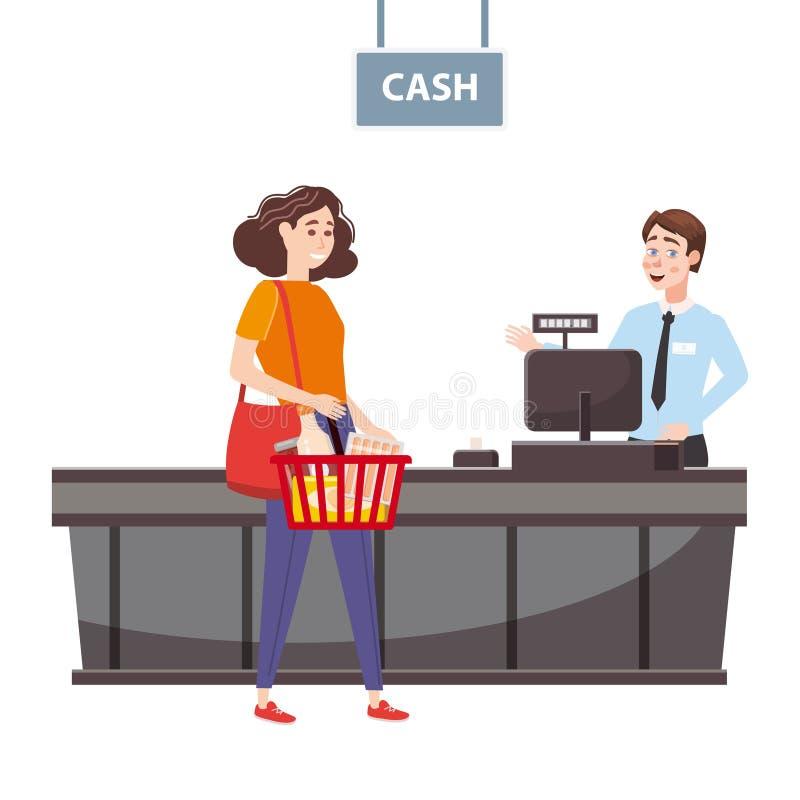Кассир за счетчиком кассира в супермаркете, магазин, магазин служит по бесплатная иллюстрация