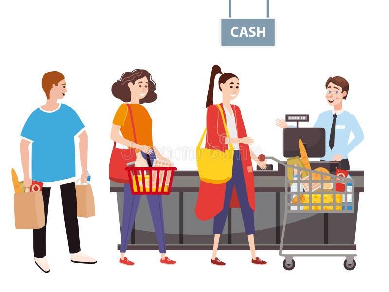 Кассир за счетчиком кассира в супермаркете, магазин, магазин служит по иллюстрация вектора