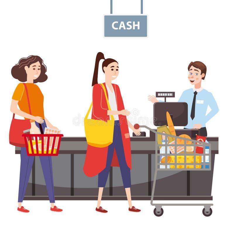 Кассир за счетчиком кассира в супермаркете, магазин, магазин служит покупатель, женщина с корзиной вполне  иллюстрация вектора