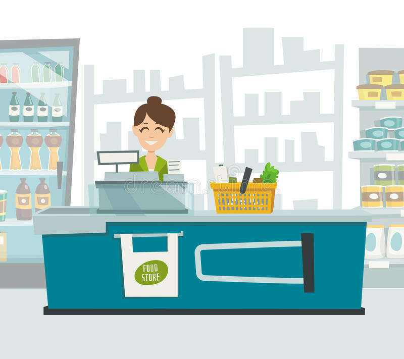 Кассир супермаркета внутри интерьер магазина, иллюстрация шаржа вектора иллюстрация вектора