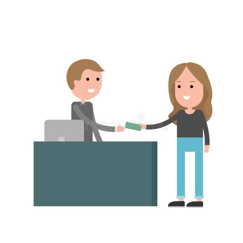 Кассир с клиентом Женщина при деньги оплачивая на встречном обслуживании иллюстрация штока