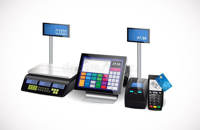 Кассовый аппарат магазина, принтер и стержень оплаты карточки иллюстрация штока