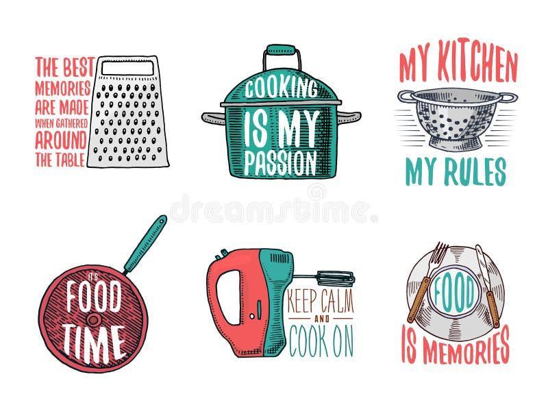 Кастрюлька и терка, дуршлаг и сковорода, смеситель и плита Печь или пакостные утвари кухни, варя вещество логос бесплатная иллюстрация