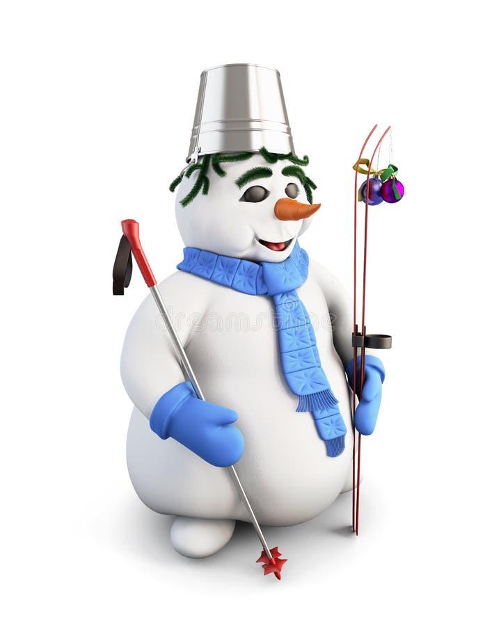 катается на лыжах снеговик 3d иллюстрация штока