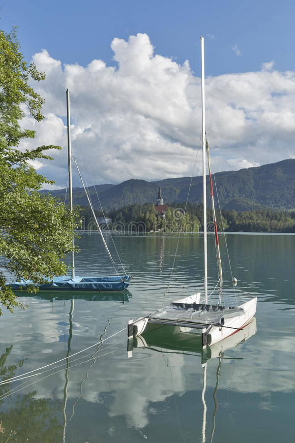Катамараны плавания причаленные на озере кровоточили, Словения стоковые изображения rf