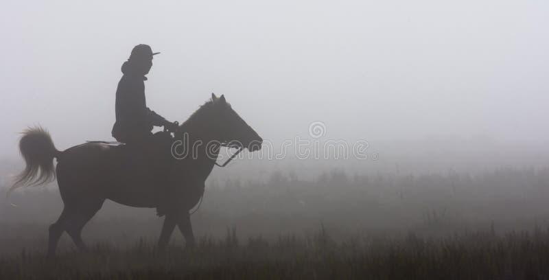 Катание наездника под fogs стоковое изображение