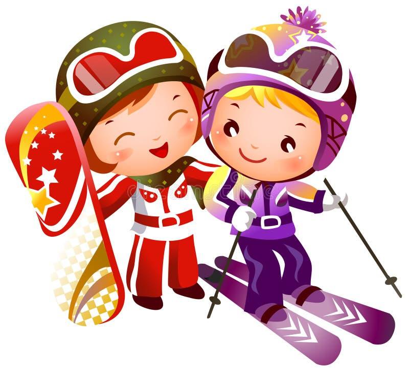 катание на лыжах девушки мальчика бесплатная иллюстрация