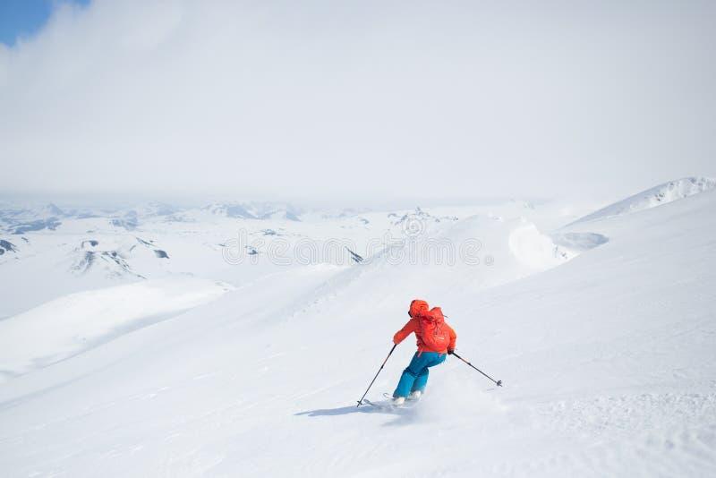 Катание на лыжах Hecla Исландия стоковое изображение rf