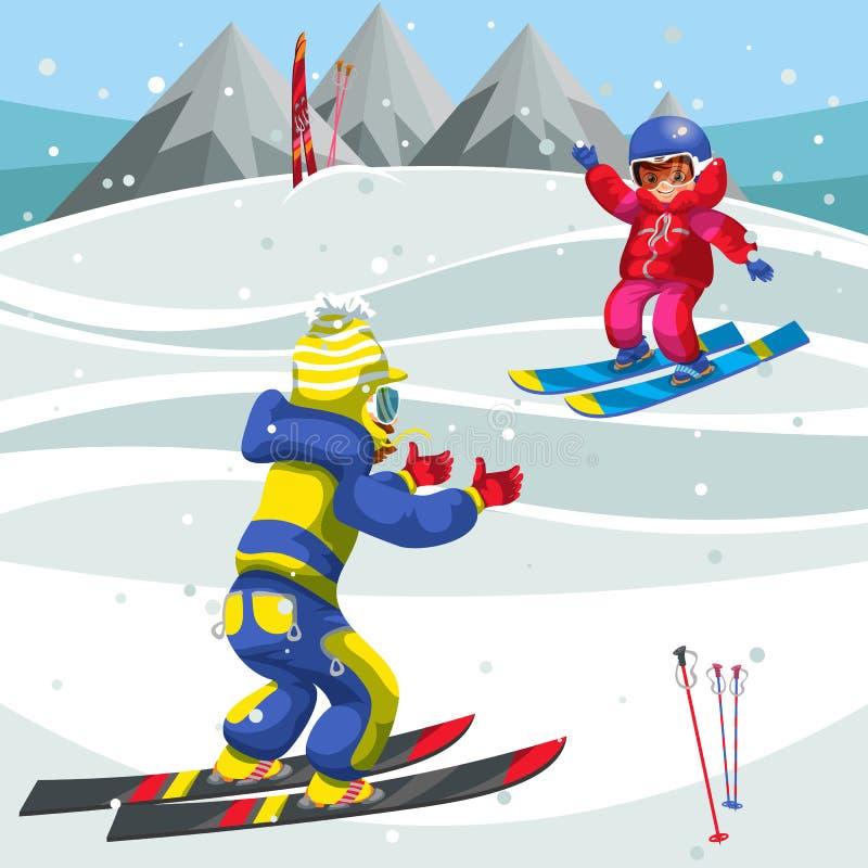 Катание на лыжах outdoors времени потехи траты мальчика и девушки мультфильма иллюстрация штока