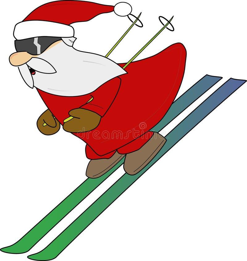 катание на лыжах Santa Стоковое Изображение RF