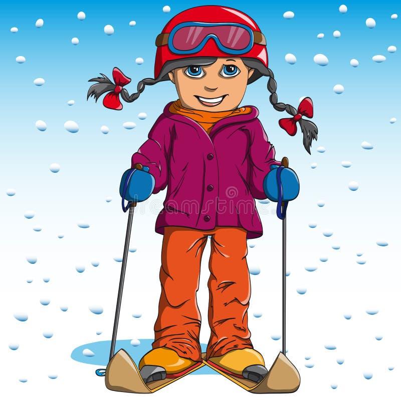 Катание на лыжах зимы девушки иллюстрация штока