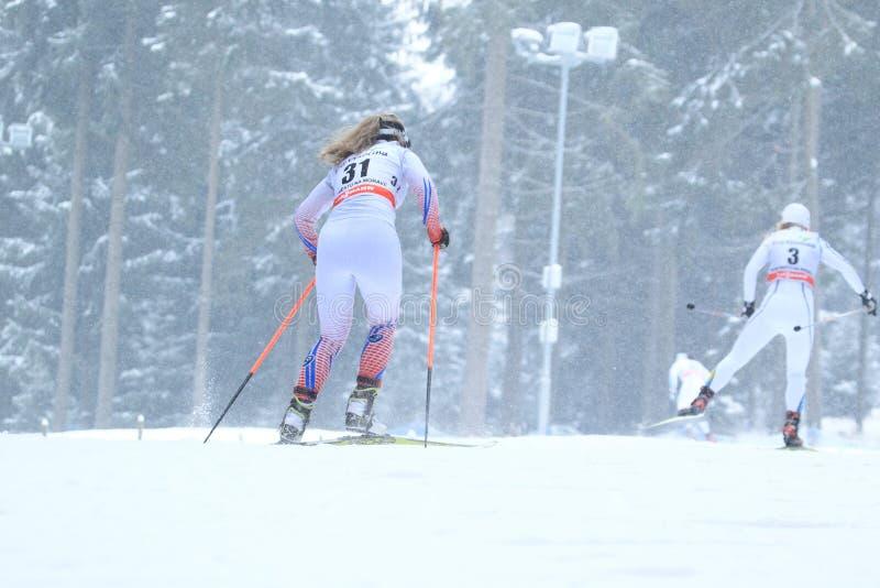 Катание на лыжах по пересеченной местностей в na Morave Nove Mesto стоковая фотография