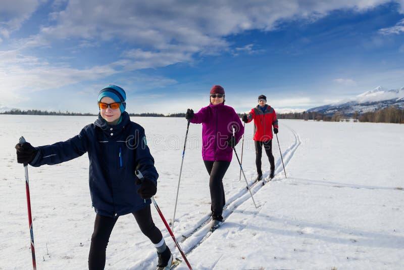 Катание на лыжах по пересеченной местностей семьи стоковое изображение