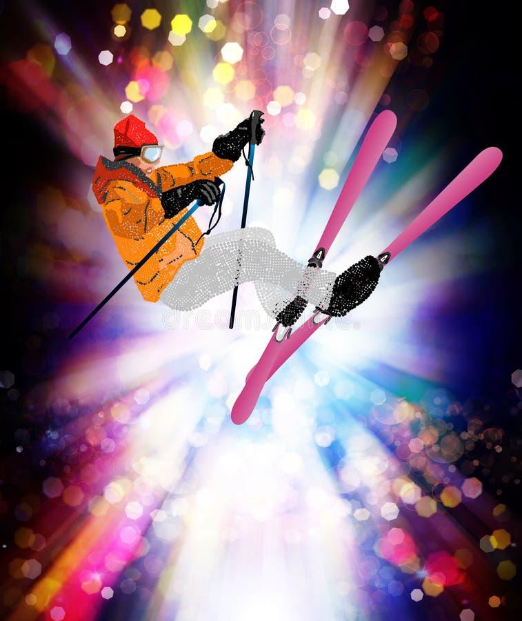 Катание на лыжах фристайла иллюстрация штока