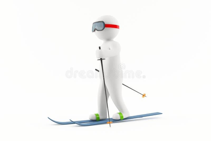 катание на лыжах человека 3D стоковое изображение