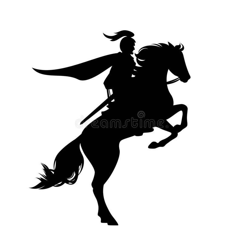 Катание рыцаря поднимая вверх по силуэту вектора черноты лошади иллюстрация штока