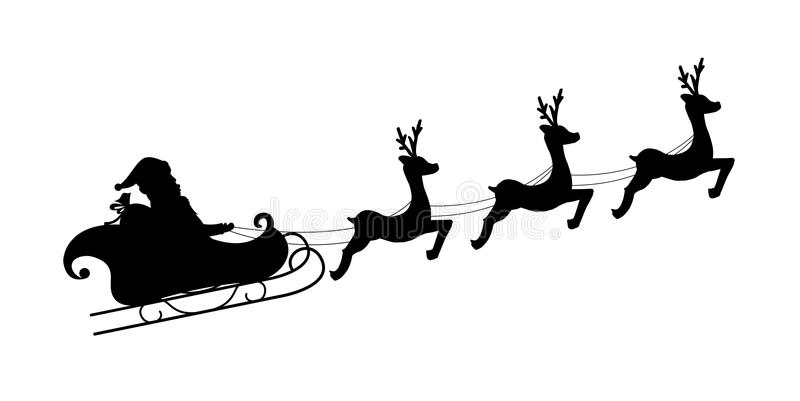 Катание Санта Клауса с его оленями Санта Клаус управляя в розвальнях вектор иллюстрация штока