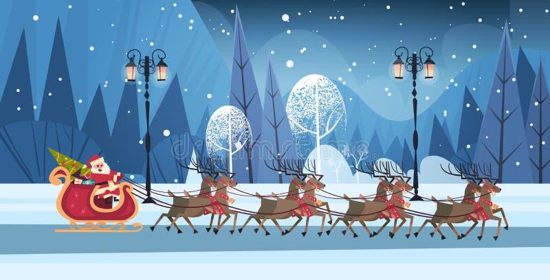 Катание Санты в розвальнях с знаменем северных оленей, с Рождеством Христовым и счастливых Нового Года поздравительной открытки з иллюстрация вектора