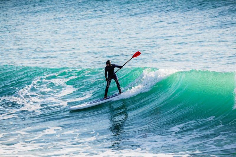 Катание серфера дальше стоит вверх доска затвора на большой волне Зима занимаясь серфингом в океане стоковое фото rf