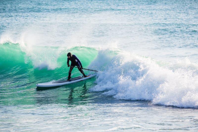Катание серфера дальше стоит вверх доска затвора на ломая волне Зима занимаясь серфингом в океане стоковые изображения
