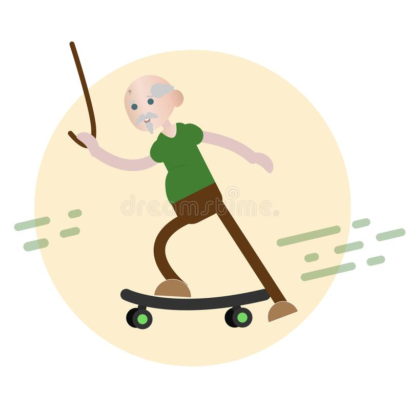 Катание старика на скейтборде стоковое фото rf