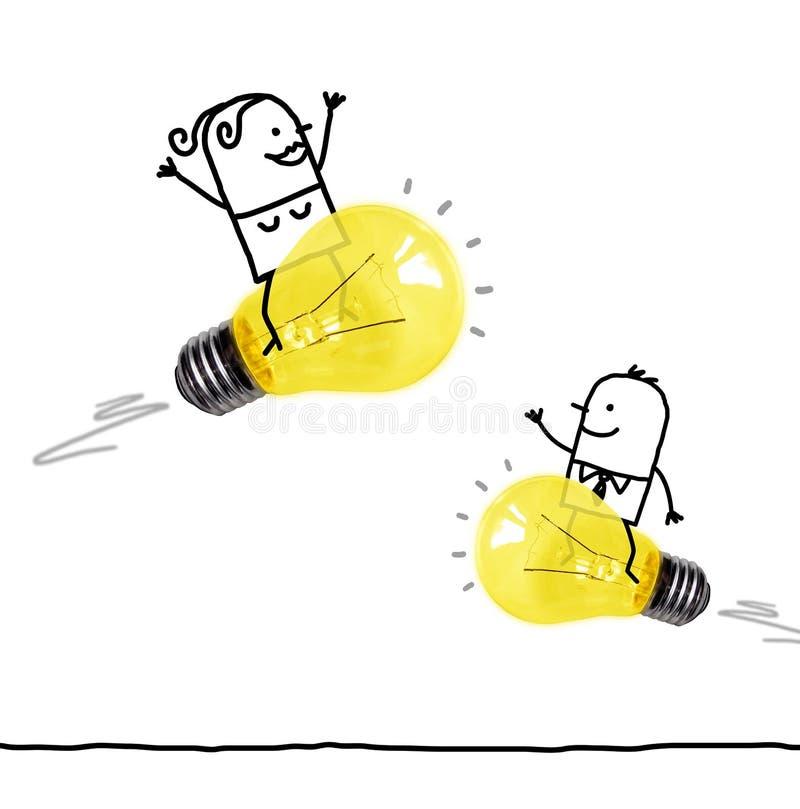 Катание человека и женщины мультфильма на электрических лампочках Ракетах стоковые фото