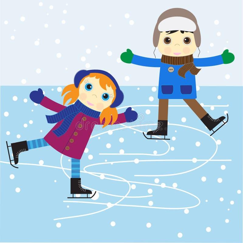 кататься на коньках льда иллюстрация вектора