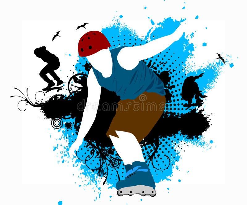Кататься на коньках ролика бесплатная иллюстрация