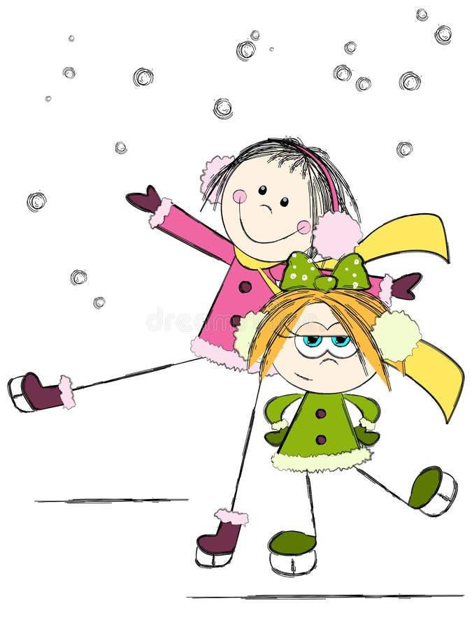 кататься на коньках сестер иллюстрация вектора