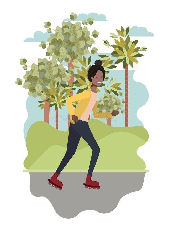 Кататься на коньках чернокожей женщины практикуя в парке бесплатная иллюстрация