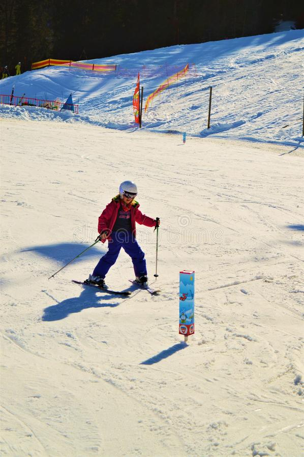 Кататься на лыжах в швейцарце Альпах в зимних днях стоковое фото rf