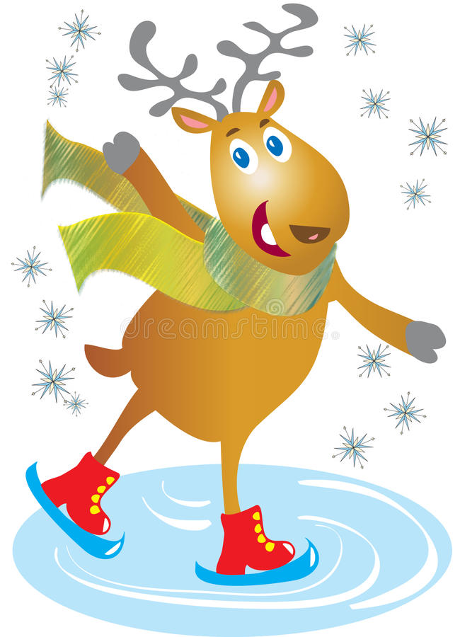 Катаясь на коньках северный олень бесплатная иллюстрация