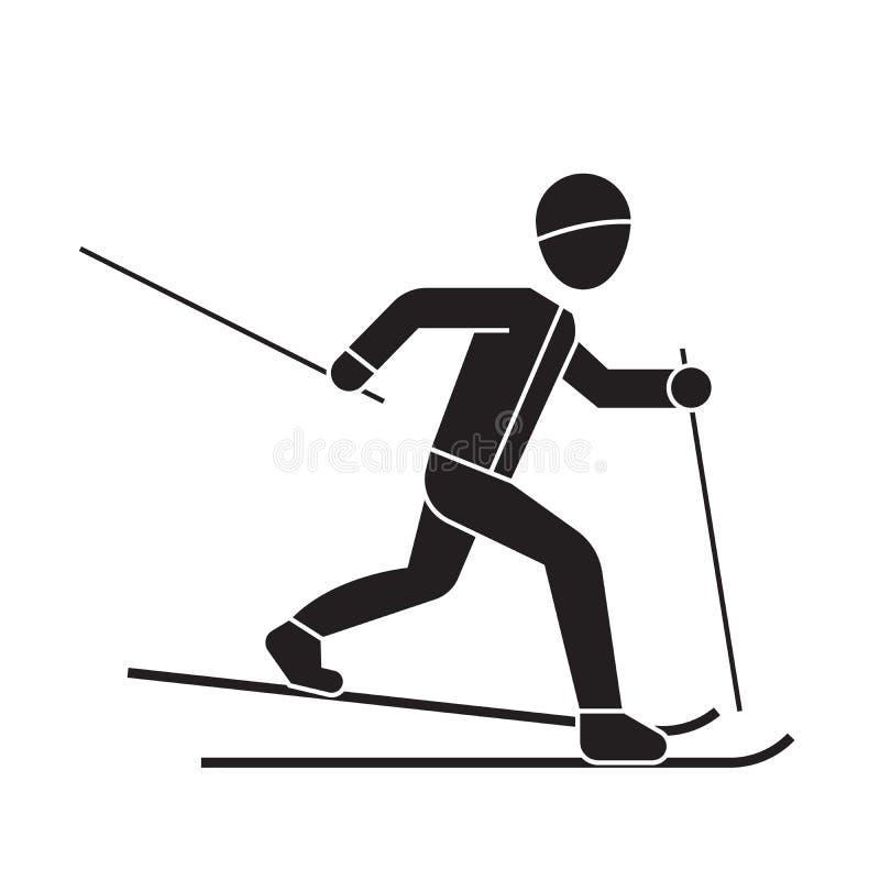 Катаясь на лыжах значок концепции вектора черноты человека Катаясь на лыжах иллюстрация человека плоская, знак иллюстрация штока