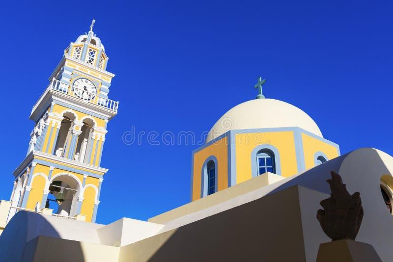 Католическая церковь в Santorini стоковые фотографии rf