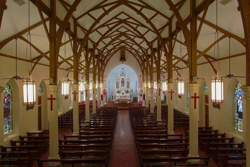 Католическая церковь Сент-Луис - Castroville Техас стоковая фотография rf