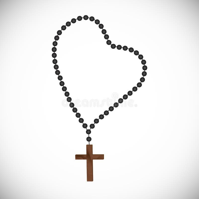 Католический prayerful розарий с черными жемчугами с деревянным крестом бесплатная иллюстрация