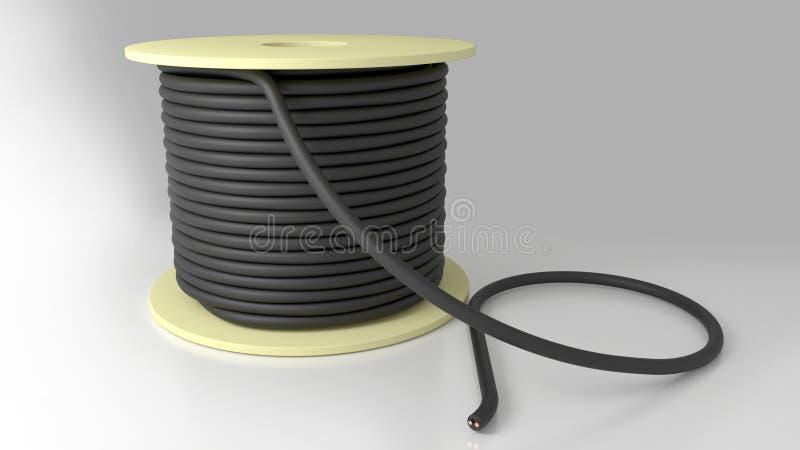 Катушка черноты сели на мель кабелем, который стоковое фото