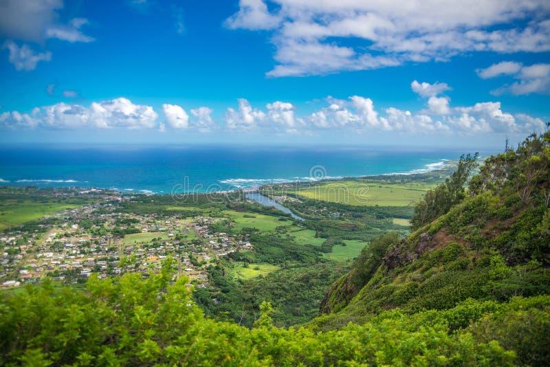 Кауаи, Гаваи - панорамный вид с воздуха стоковая фотография