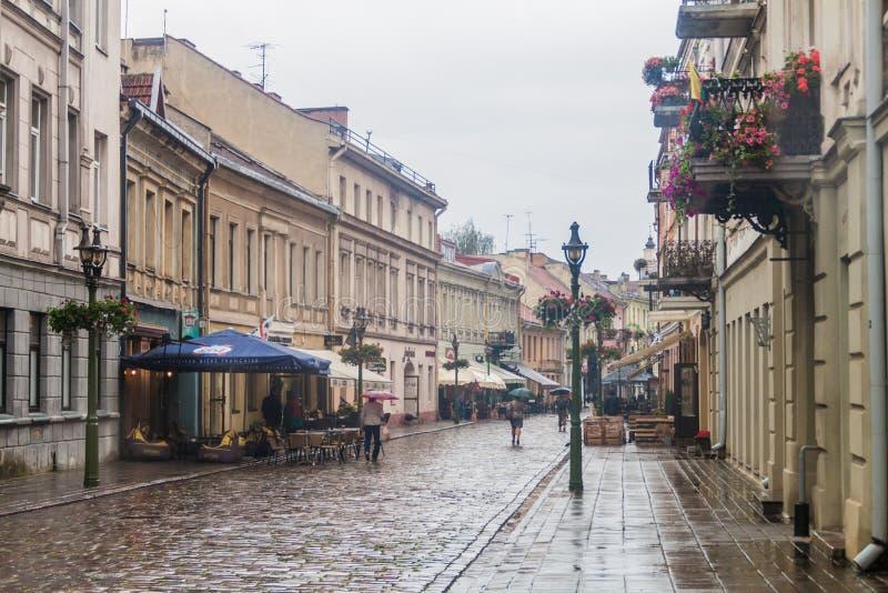 КАУНАС, ЛИТВА - 16-ОЕ АВГУСТА 2016: Люди идут вдоль улицы gatve Vilniaus в Каунасе, Lithuani стоковые изображения